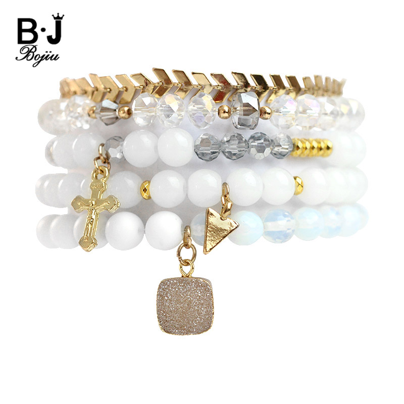 BOJIU Natural White Stone Copper Shell Slices Crystal Charm Bracelets Set For Women Coin Cross Ball Charm Bracelet Femme Jewelry