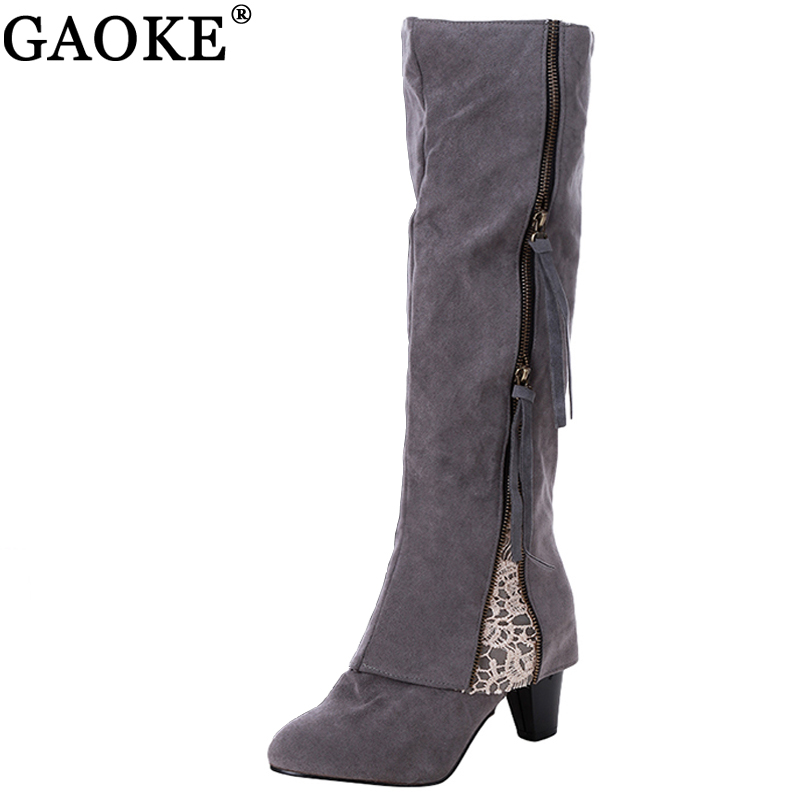 2017 Winter Women Riding Boots High Heel Fold Over Design Near The Ankle With Lace Detailing At Side Over the Knee Boots