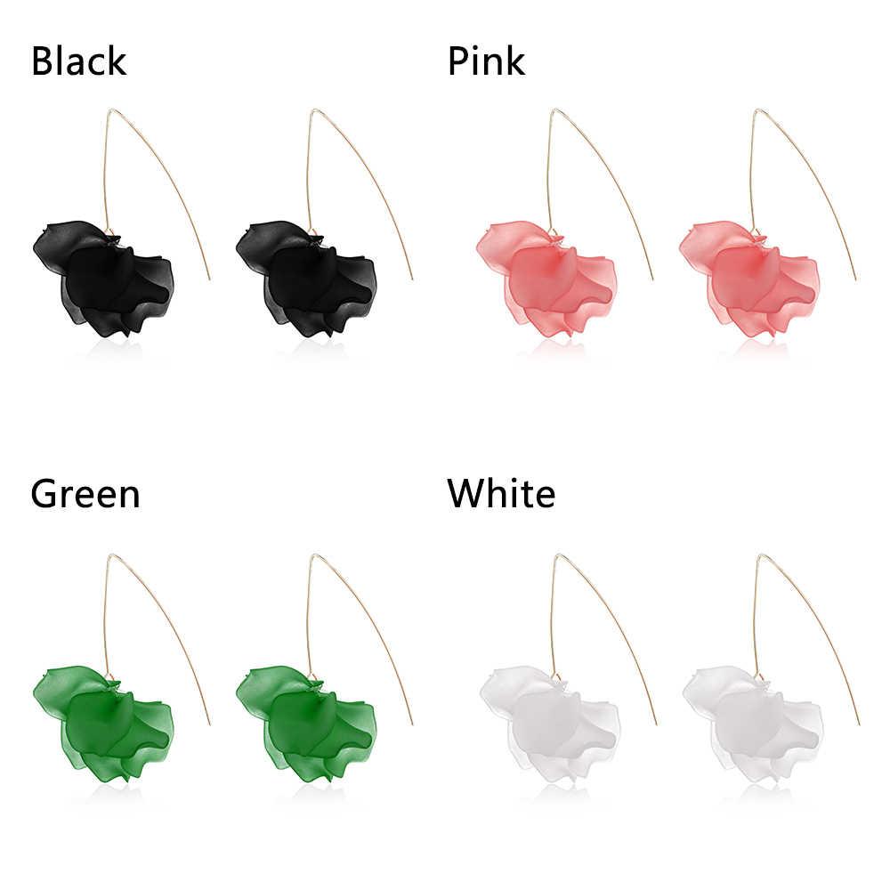 Pendientes largos de flores de resina de moda multicolor 2019 nuevos diseños bohemios pendientes colgantes de pétalo hechos a mano para regalo de mujer