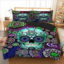 Blue Skull Printed bedding set for comforter queen King twin sizes bed linens set with pillowcases(China)