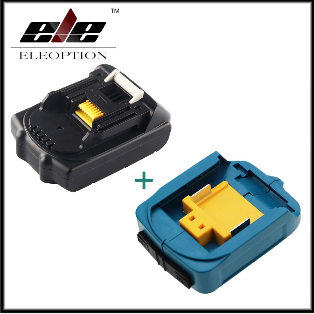 Eleoption 18V 2000mAh Li-ion Replacement Battery For MAKITA 194205-3 194309-1 BL1815 + USB Power Charger Adapter For Makita eleoption 18v 2000mah li ion 2 0ah lithium ion battery power tool battery for makita bl1815 battery 18v 194205 3 194309 1