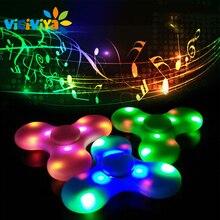 VICIVIYA Light Fidget Spinner for Bluetooth Speaker Music EDC Hand Spinner For Autism Kid Fluorescent Fidget Toy Finger Spinner