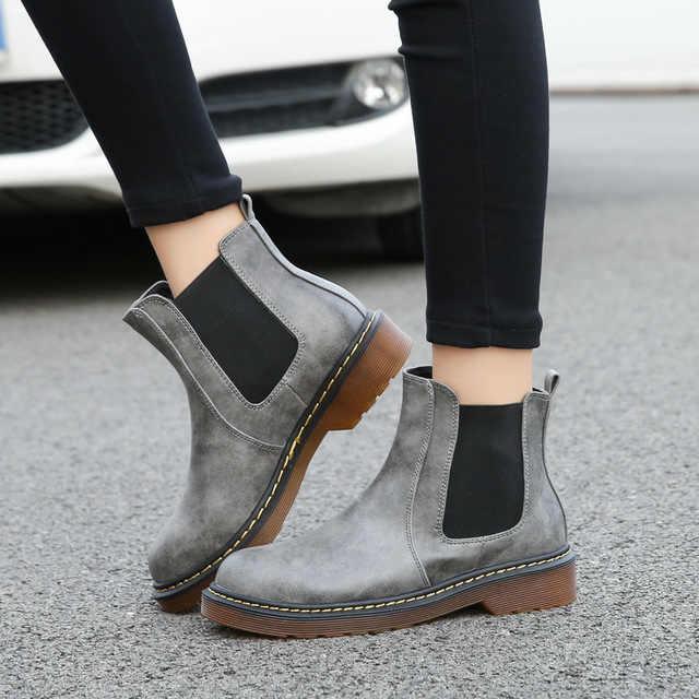SZSGCN428-2019 nuevas botas cálidas de piel para mujer botas de tobillo de motocicleta para mujer botas de nieve de invierno de punta redonda para mujer