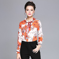 Fashion Plus Size Women Tops Printed Floral Shirts Blouses Ruffled Long Sleeve Woven Shirt L to 4xl 5xl