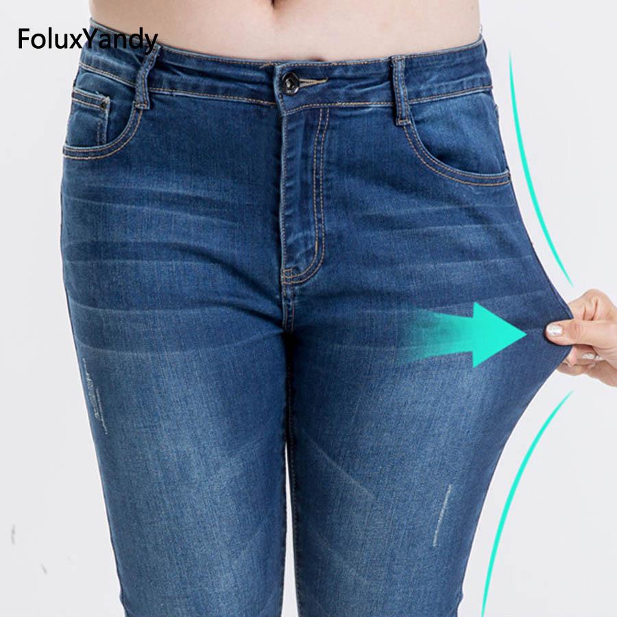 Elastic Jeans Women Brand New Plus Size 3 4 5 6 XL Casual Slim Skinny Classic Denim Pencil Pants  Trousers Blue LEJ11 plus size pants the spring new jeans pants suspenders ladies denim trousers elastic braces bib overalls for women dungarees