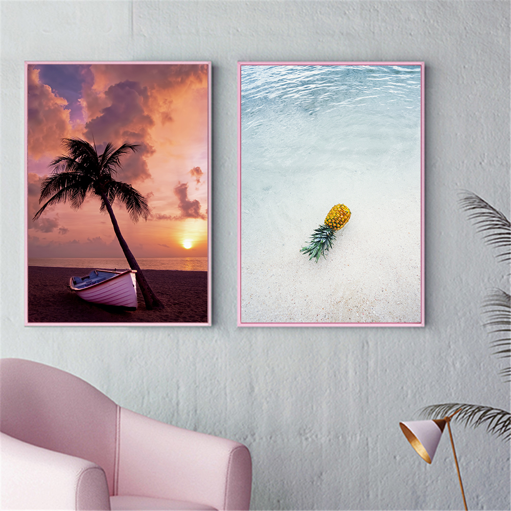 Canvas Painting Seascape Poster Beach Sea Tree Sand Ocean Pineapple Poster Nordic Style Print Wall Picture For Living Room Deco
