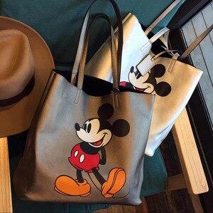 Image 1 - Bolso de hombro de gran capacidad con dibujo de Mickey Mouse de Disney, bolso de mano para mujer, de compras, de ocio, a la moda