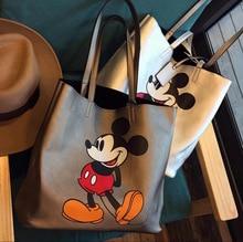 Disney Mickey Mouse karikatür büyük kapasiteli omuzdan askili çanta Shopper lady çanta kadın alışveriş eğlence moda omuzdan askili çanta
