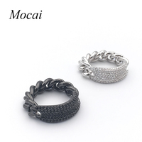Fashion Thick Chain Steam Punk Ring Brand Designer Micro Pave Zircon Black White Cool Rings Fashion