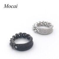 Fashion Thick Chain Steam Punk Ring Brand Designer Micro Pave Zircon Black White Cool Rings Fashion