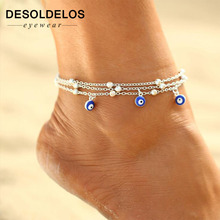 New Bohemian Anklets For Women Turkish Blue Eyes Pendant Foot Bracelet Beads Chain Beach Anklet halhal ayak zinciri cavigliera