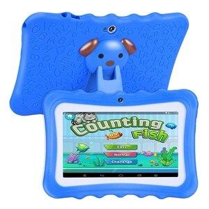 Обновленный лучший планшет для детей, 7-дюймовый hd-дисплей с защищенным от детей силиконовым чехлом (четырехъядерный 8 ГБ/4 Гб Wifi, bluetooth, фронт...