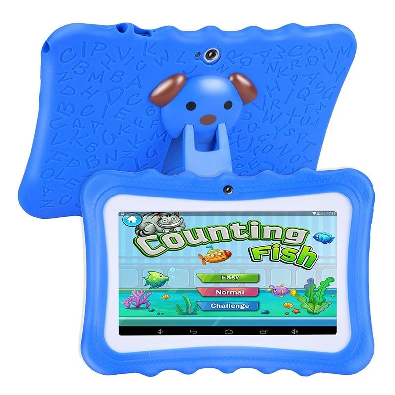 Mise à niveau de la meilleure tablette pour enfants, écran HD 7 pouces avec coque en silicone résistant aux enfants (Quad Core, 8 go, Wifi, bluetooth, caméra avant et arrière