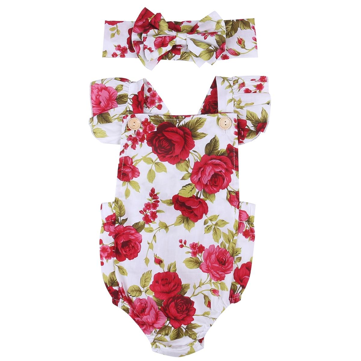 2017 Floral Baby Romper Newborn Baby Girl Clothes Ruffles Sleeve Bodysuit +Headband 2pcs Outfit Bebek Giyim Sunsuit 0-24M