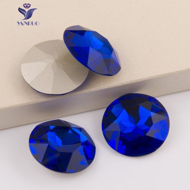 YANRUO 1201 Rivoli 27mm Capri Blue Round Sew On Crystal Point Back Claw  Rhinestones Sewing Crystal 5ceb40506bdf