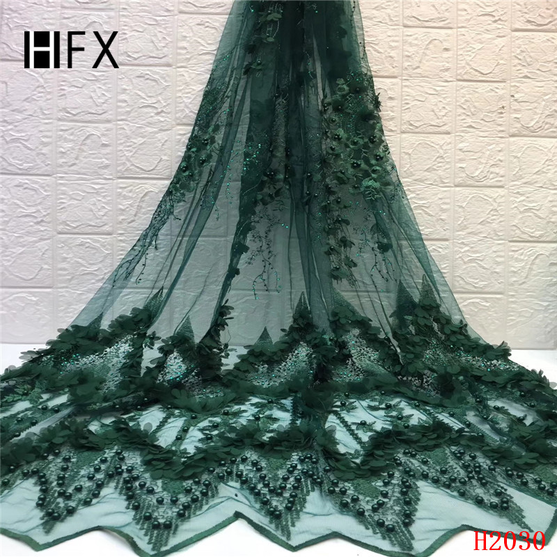 HFX Hot Sale 2019 African Tulle Lace with Beads High Quality Luxury Lace Fabric 3D French Handmade Beaded Lace for DressHFX Hot Sale 2019 African Tulle Lace with Beads High Quality Luxury Lace Fabric 3D French Handmade Beaded Lace for Dress