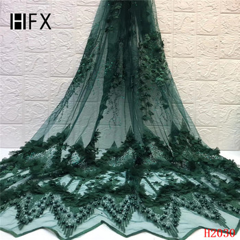 HFX Hot Sale 2019 African Tulle Lace with Beads High Quality Luxury Lace Fabric 3D French Handmade Beaded Lace for Dress
