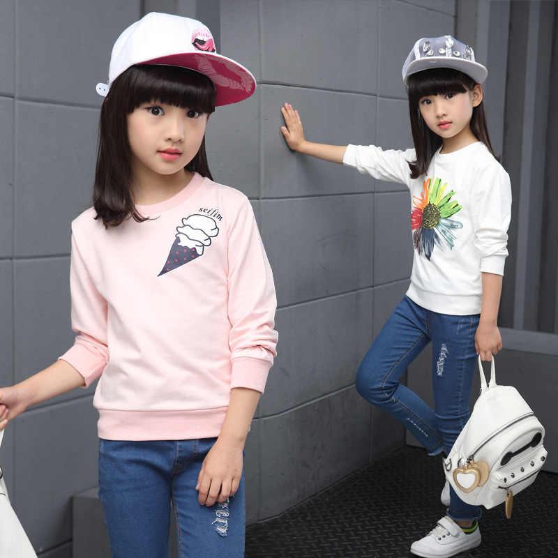 جديد التجزئة الفتيات ملابس الربيع الاطفال ملابس الفتيات عباد الشمس طباعة وتتسابق تي شيرت جميل طويل الأكمام ملابس الأطفال 3-15