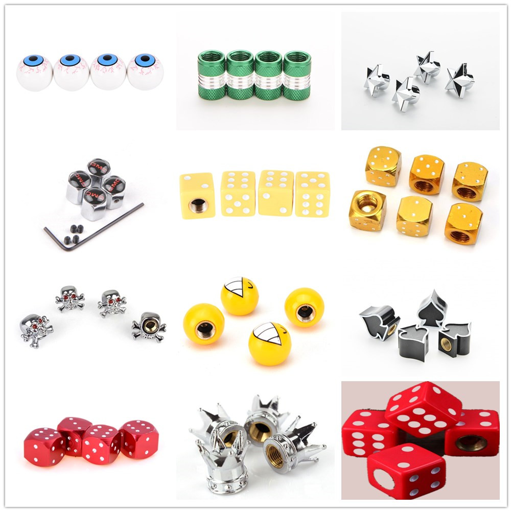 Tire-Valve-Caps Bicycle Bike-Tyre Star Truck Auto Dustproof 4pcs Dice-Ball Crown-Shaped