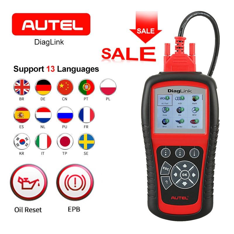 AUTEL Diaglink OBD2 Scanner EOBD outil de Diagnostic automatique lecteur de Code SRS fonction complète bricolage version des accessoires de voiture MD802