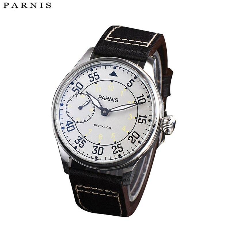 Parnis 44mm Hand Winding Mechanical Watches 17 Jewels Movement Luminous Hand Wind Watch Wrist Watches Reloj