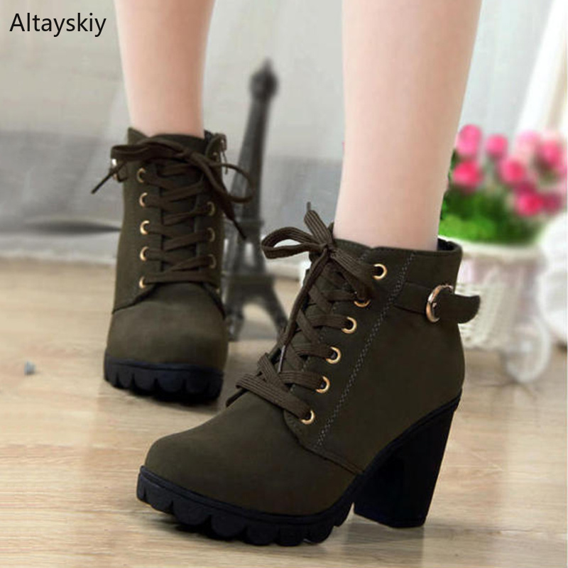 1949084f6d729 Detail Feedback Questions about Boots Women Thick Black Green Yellow Winter  Chic Flock High Heel Ankle Lace Up Plus Size Boot Womens All match Retro  Warm ...