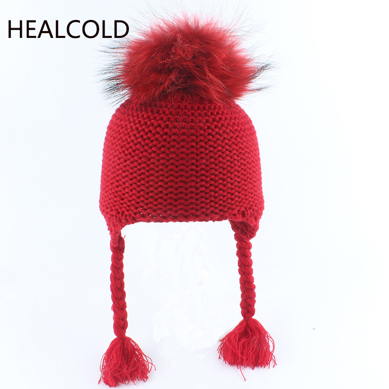 Winter Hats For Children Fur Pompom Color Beanie Hat Baby Warm Caps Cute Boy Girls 2019(China)