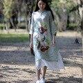 БЕЗМЯТЕЖНО Женщины Dress 2017 Весна Лето Dress Linen Cotton Dress Китайский Винтаж Cheongsam Поддельные Из Двух частей Длинные Dress VestidoS72