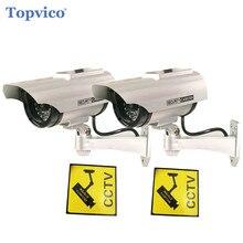 Topvico 2 шт. пустышки CCTV Камера solar + Батарея питание мерцания светодиодный открытый Поддельные видеонаблюдения дома Камера пуля Камера