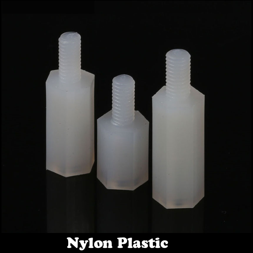 40pcs M2 M2*5+5 Plastic Single End Stud Nylon Screw Pillar White Male To Female Hex Hexagon Standoffs Stand-off Spacer 2 5