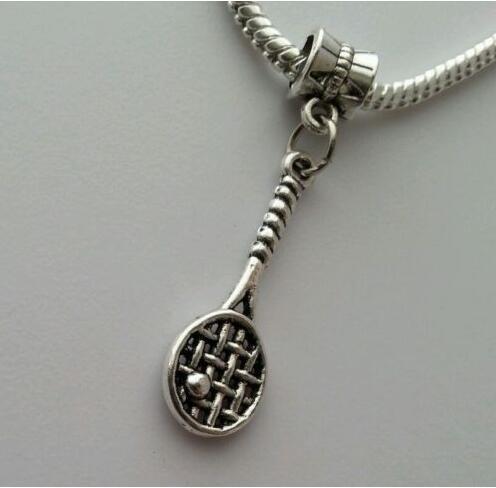 Wholesale 50Pcs Alloy Silver Tennis Racket Ball Dangle Charm Bead Pendant Fit European Charm Bracelets&Necklace Women Jewelry