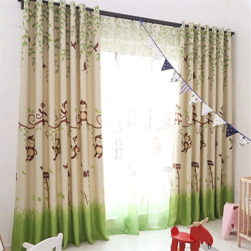 US $6.87 45% OFF|{byetee} Blackout Curtains Cartoon Monkey Kid Bedroom  Window Sheer Tulle Curtains Panel Modern Drapes for Children Bedroom-in ...
