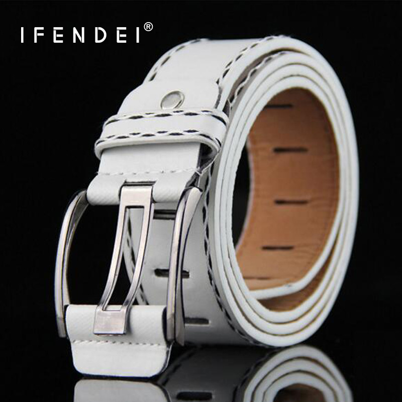 IFENDEI Women's   Belt   For Jeans PU Leather Men's   Belt   Needle Buckle White Waist   Belt   Casual Female Strap For Man cinturon mujer