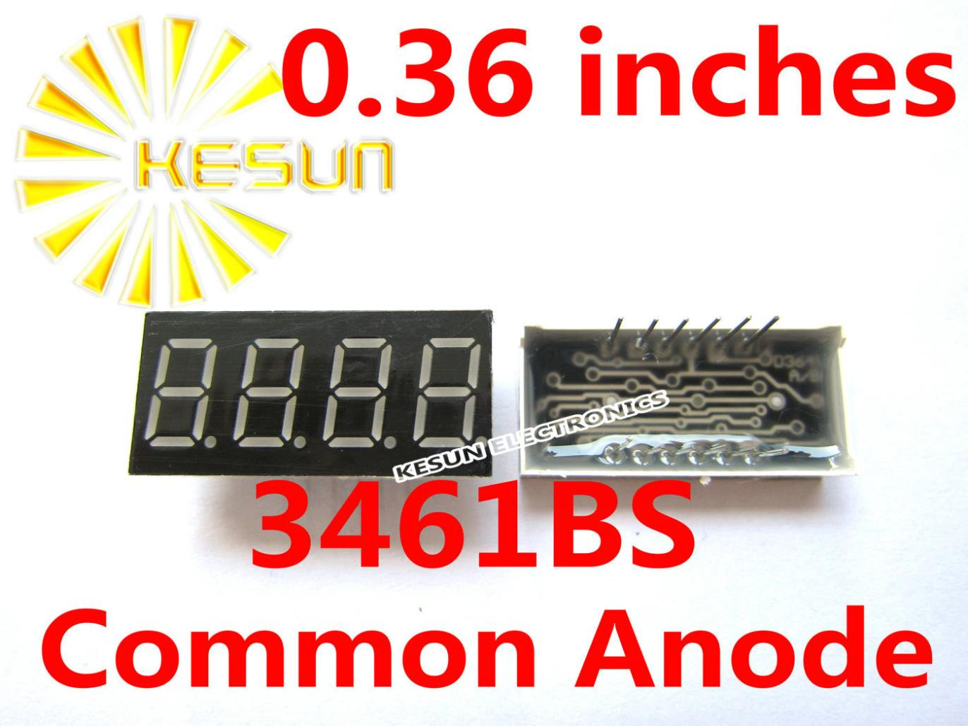 100PCS X 0.36 Inches Red Green Common Anode/Cathode 4 Digital Tube 3461BS 3461AS 3461AG 3461BG LED Display Module Light Beads