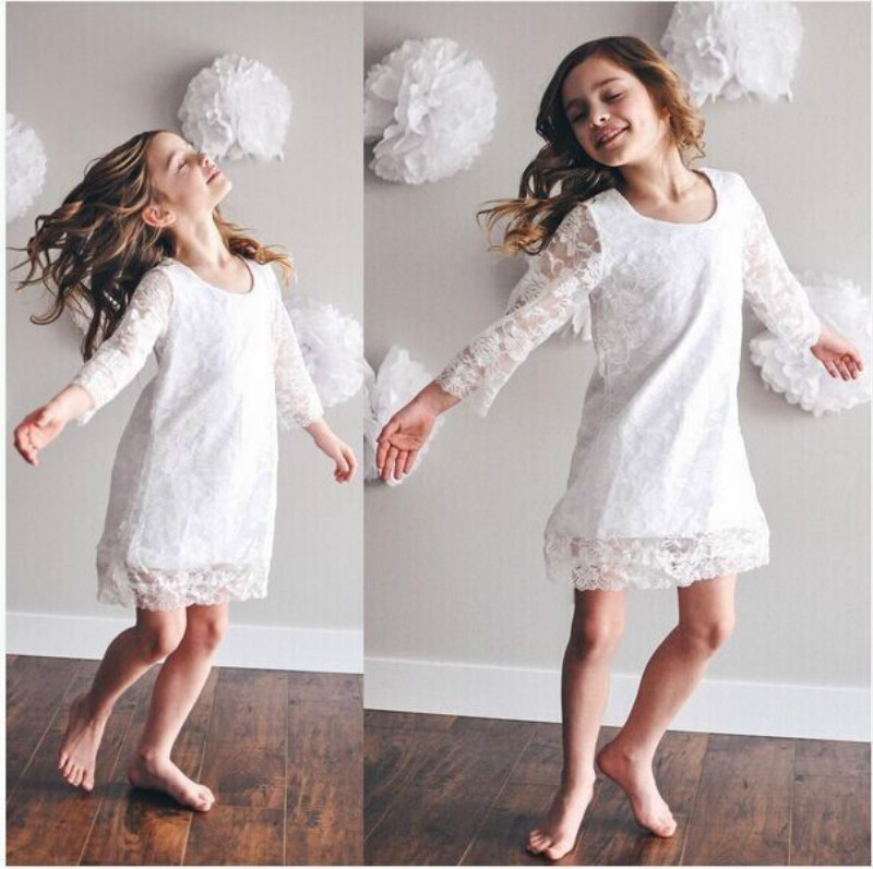 Pudcoco Lace Summer White Baby Girls Dress Baby Girls Kids Princess Long Sleeve Dress Flower Party Tutu Lace Dress For Girl 2-7Y