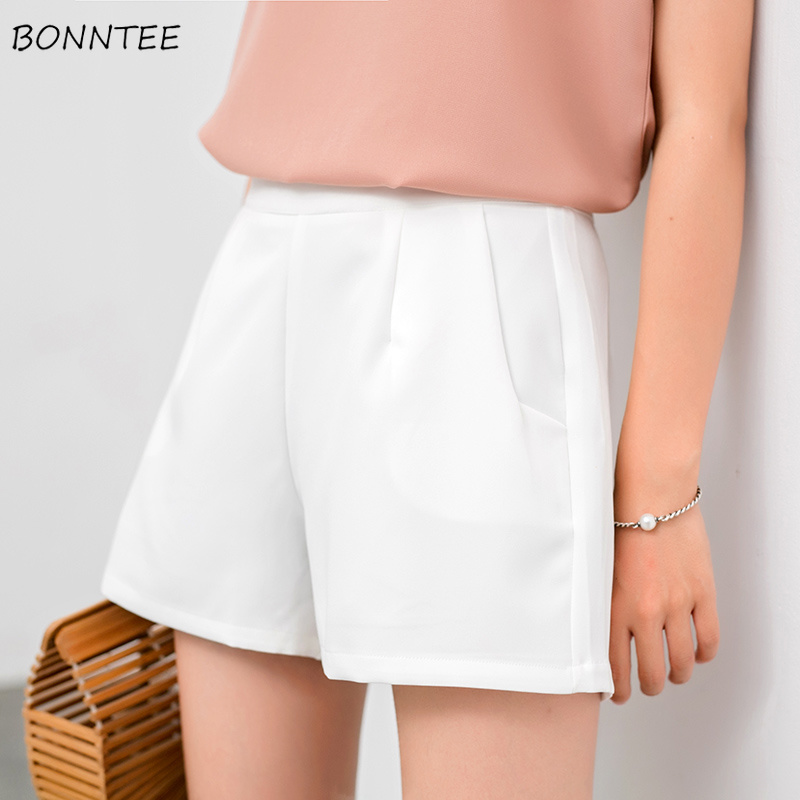 Shorts Women Chiffon A-Line High Slim Female Summer 2019 Trendy Womens Thin Breathable Soft Daily Invisible Zipper Elegant Solid