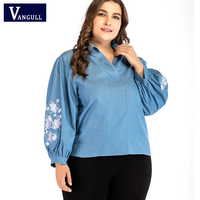 Vangull Spring Fashion Large Size 4 XL Women's Clothing Floral Embroidery Loose Shirts Puff Sleeve Turn down Collar Casual Tops