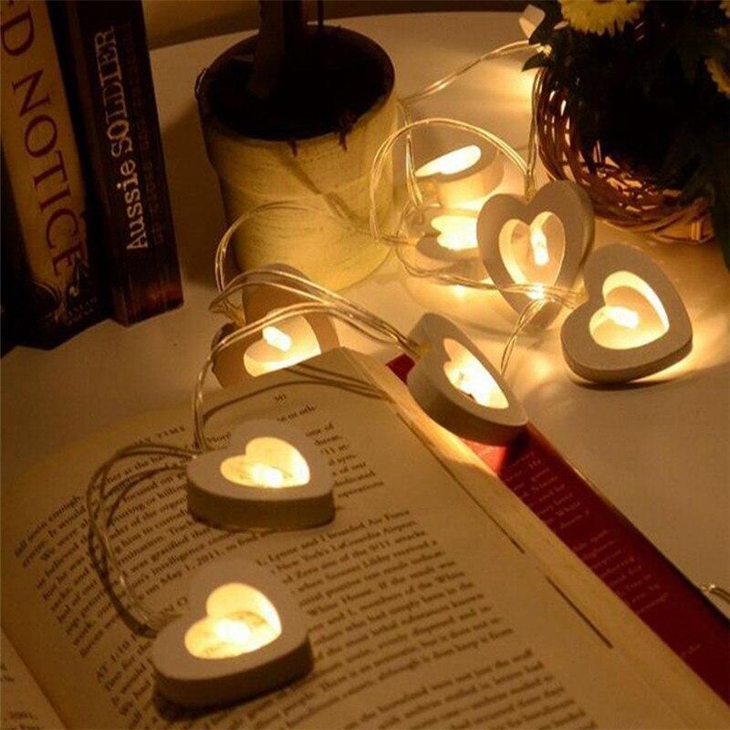 10 LED de madera luces corazón cadena adornos navideños para el hogar Boda decoración luces fiesta de cumpleaños decoraciones niños Boda. Q
