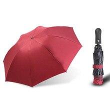 New Automatic Three-Folding Umbrella Sun Rain Women Male Auto Luxury Windproof Travel Umbrellas For Men Black