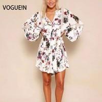 Vogue! n yeni bayan bayanlar moda v yaka fener kollu dantel mix mini dress boyut sml toptan sarı beyaz