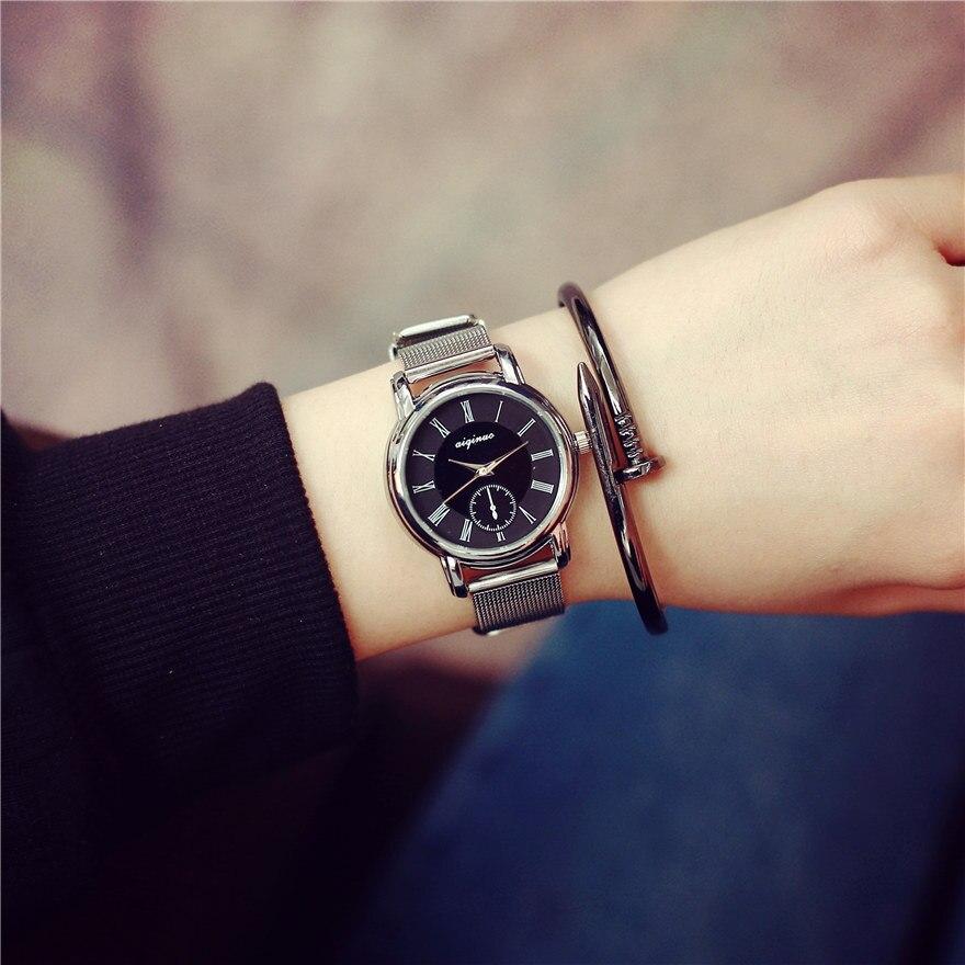 100% New Brand Mini Silver Steel Quartz Dress Wristwatches Bracelet Watch for Women Ladies Female Rome Dial OP001