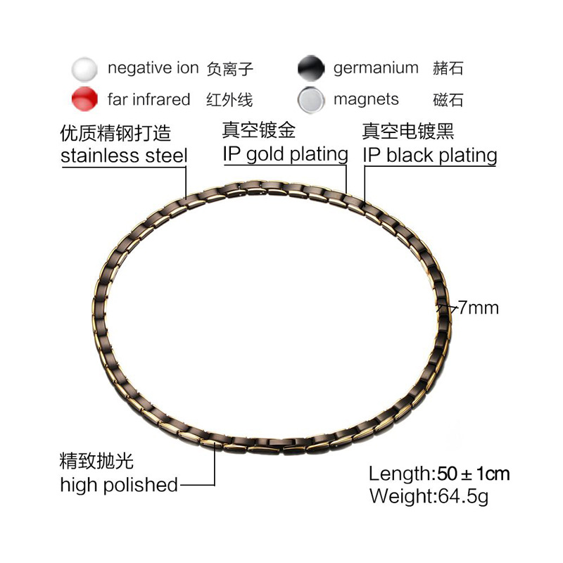 Stainless Steel Magnet Germanium Far Infrared Chain link Necklace for Men Women Chokers Slimming Necklaces Health Jewelry-1