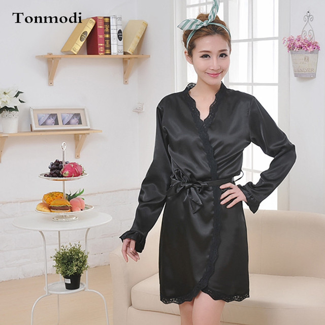 Summer Robes Women Fashion Flounced Chiffon Black Pajamas Nightgown ...