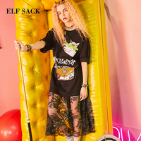ELF SACK Summer Women Two Wears Lace Long Dresses Casual Womens Black White Prins Cats Shirt