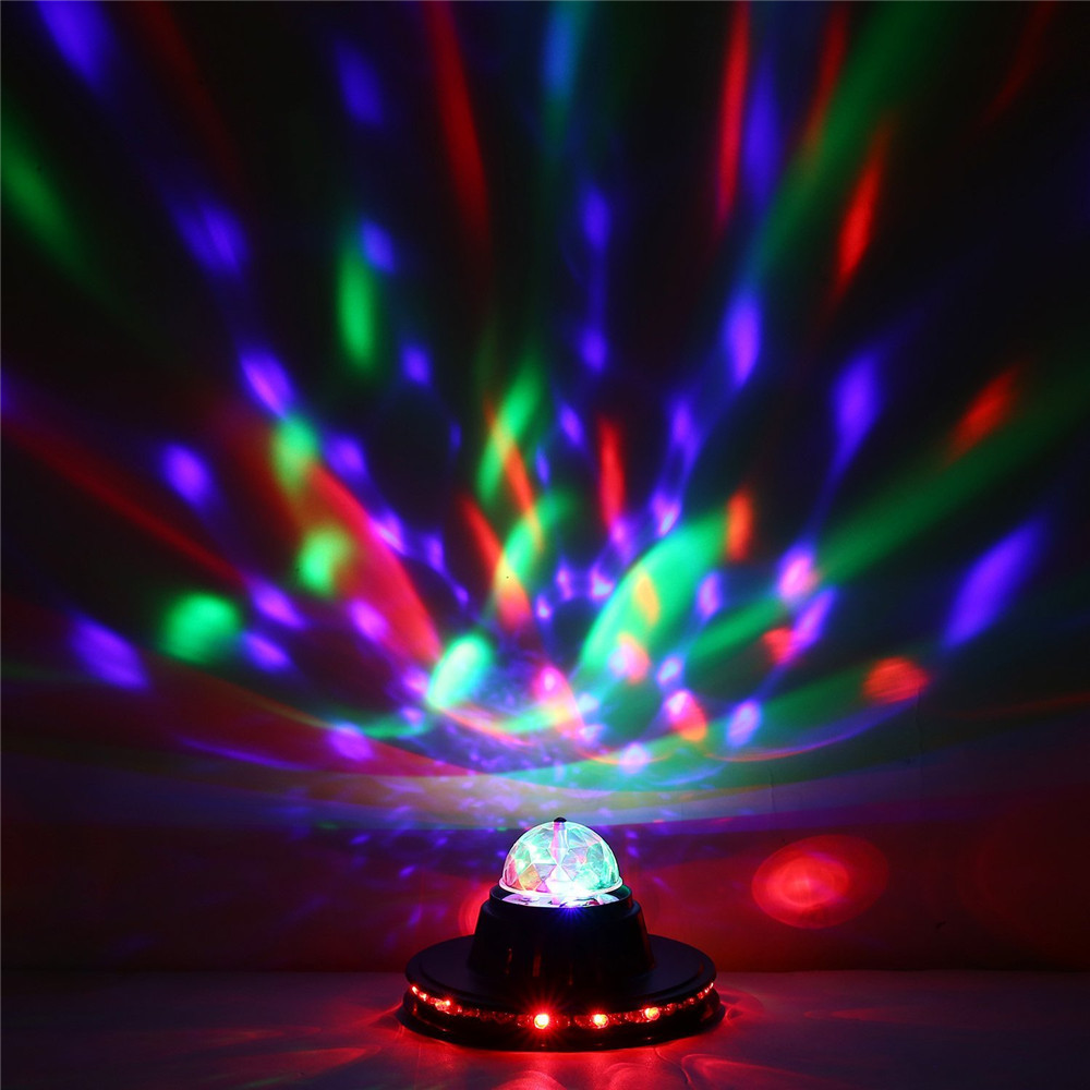 Купить с кэшбэком ZjRight 3W Full Color LED Light Sunflower Bulb Lamp Auto Rotating MP3 Crystal Stage Light DJ KTV Club Family party effect light