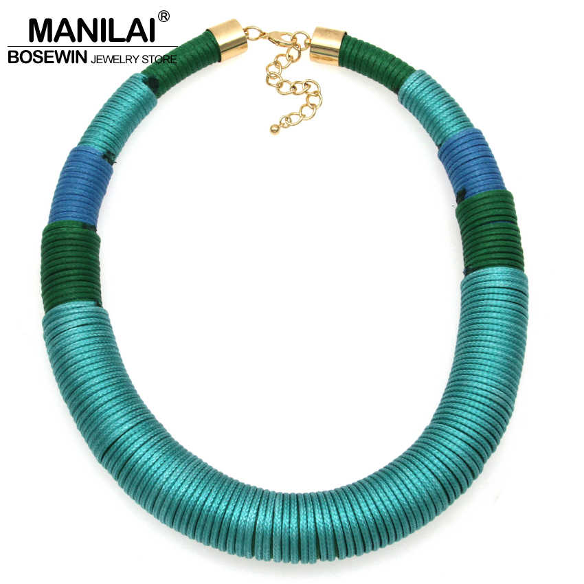 MANILAI Nouveau Design Fil De Main De Mode Simple Chunky Collier Ras Du Cou Grand Bijoux Large Col Déclaration Colliers CE4113