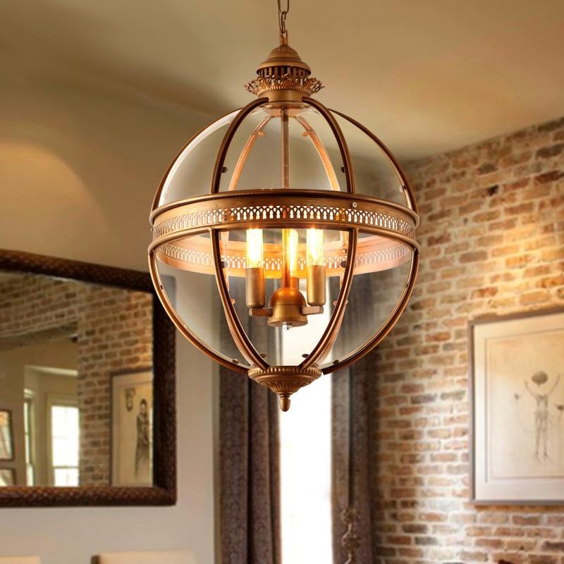 Gratis verzending Vintage Retro Kroonluchter Lamp Glas Metaal - Binnenverlichting