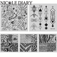 NICOLE DIARY 5 Pcs/Set Nail Art Stamping Image Plates Stainless Steel High Quality Square Plates DIY Stamping Template 26260