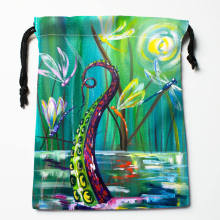 High quality Custom dragonfly paint printing storage bag drawstring bag gift Satin bags 27x35cm Compression Type Bags