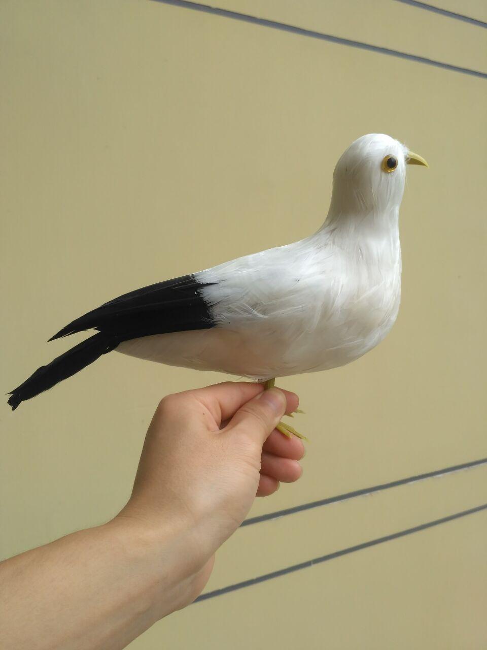 new big black&white simulation Seagull toy foam&fur seagull bird model about 30x20cm big sitting simulation white cat model plastic